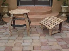 wine barrel table, footrest and Stool