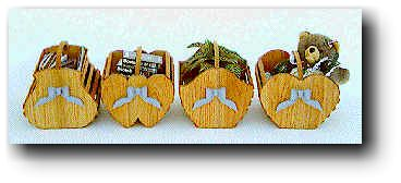 Four Wooden Baskets with Bows.